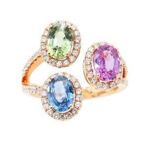 16 Orient Atelier Tri-Sapphire Cluster Ring 0
